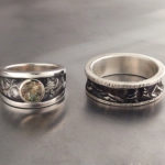 Oregon Sunstone; Matching mountain series wedding rings with a Champagne Oregon Sunstone