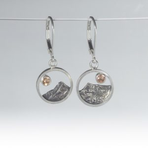 Mountain Earrings with Oregon Sunstone