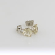 White Gold Sunstone Studs- 6mm Champagne