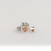 Silver Sunstone Studs- 4mm Peach