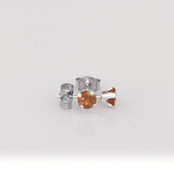 Silver Sunstone Studs- 4mm Sunset