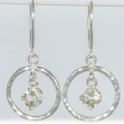 Champagne Sunstone Hammered Circle Earrings