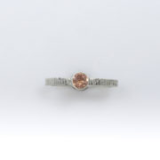 Peach Sunstone Stacker Ring with Tree-bark Texture