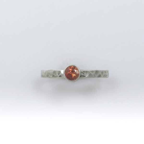 Sunset Sunstone Stacker Ring with Ball-Peen Texture