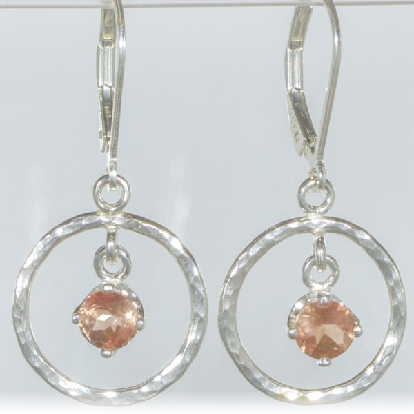 Peach Sunstone Hammered Circle Earrings