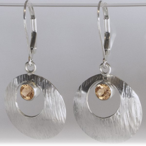 Textured Sunstone Earrings – Peach with Tree-bark