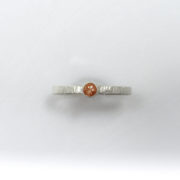 Sunset Sunstone Stacker Ring with Tree-bark