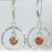 Sunset Sunstone Hammered Circle Earrings