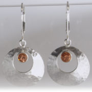 Textured Sunstone Earrings – Sunset with Ball-peen
