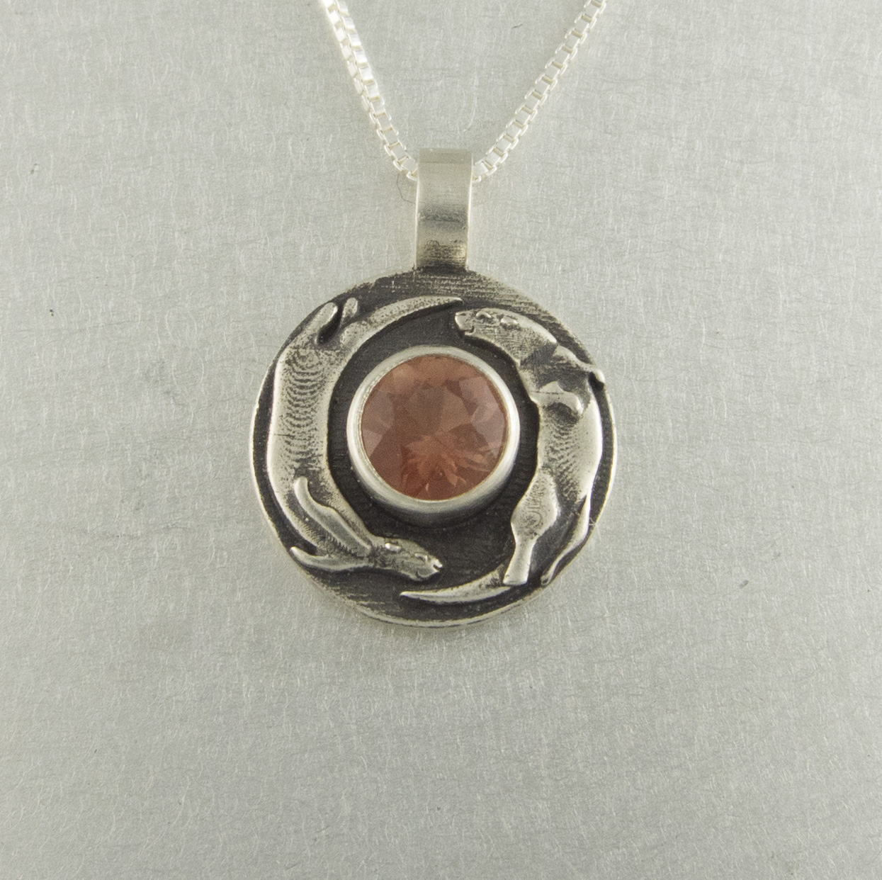 Playful otter pendant with sunstone the sunstone store otter pendant home pendants aloadofball Image collections