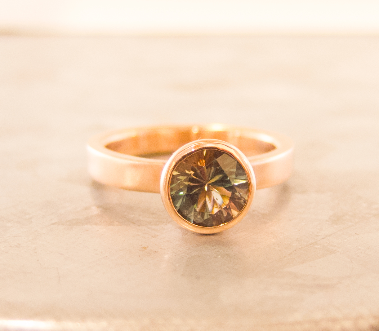 Green Oregon Sunstone Ring