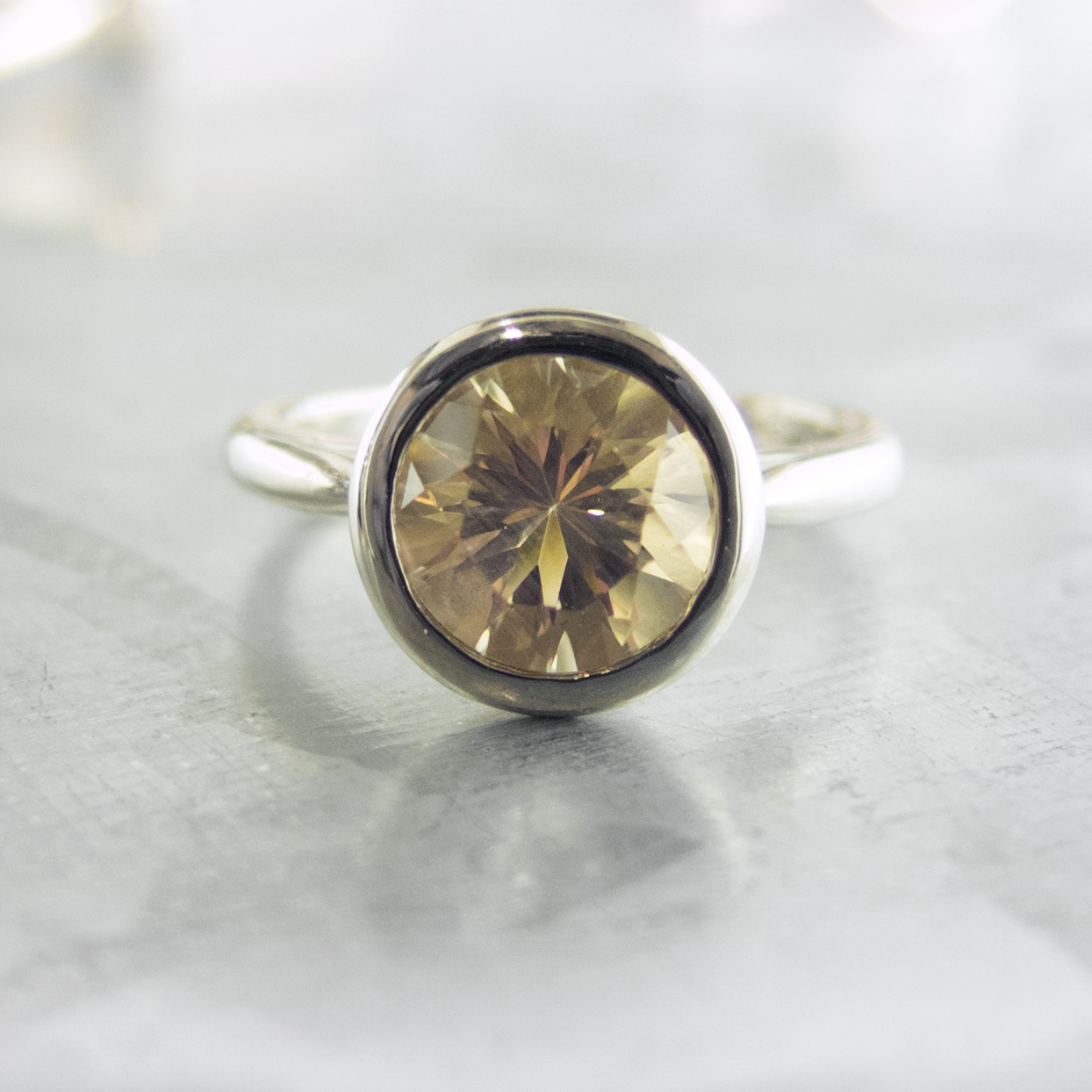 Champagne Oregon Sunstone Bezel Ring