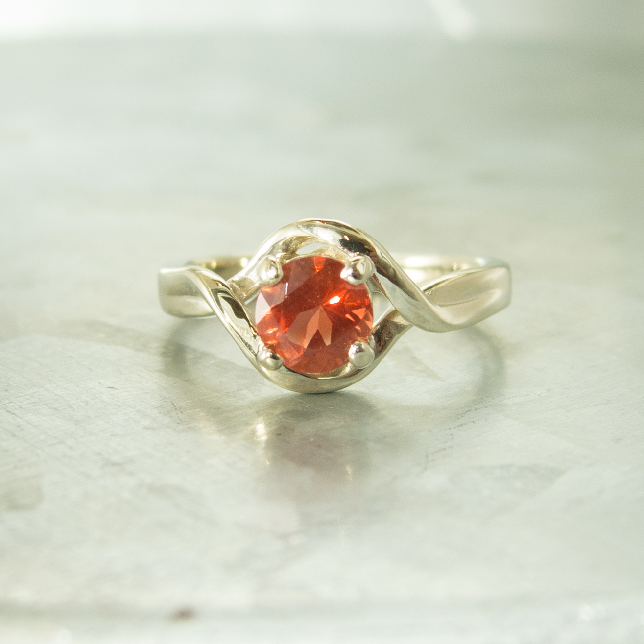 Red Sunstone White Gold Ring