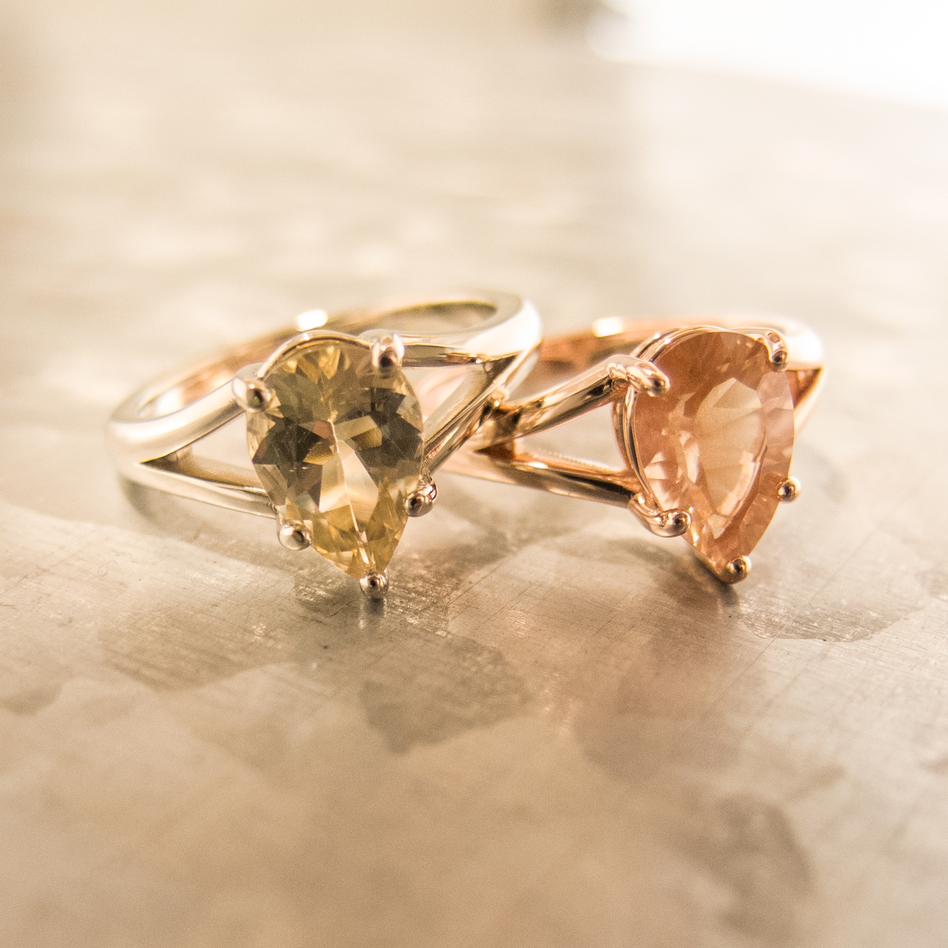 Pear Sunstone Rings