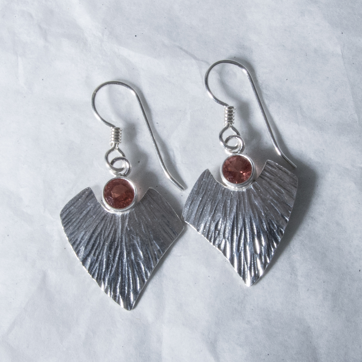 Silver Textured Chevron Earrings
