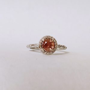 Peach Halo Ring